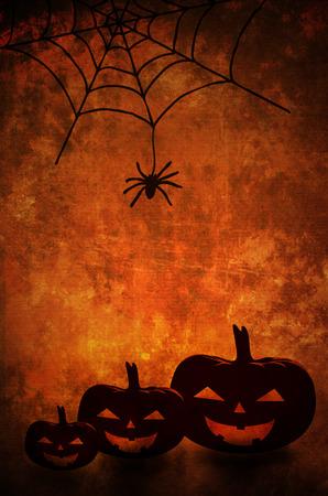 spider net: Halloween pumpkins and spider net background