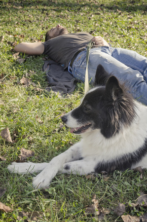 man dog: Man laying in the grass with his dog Stock Photo