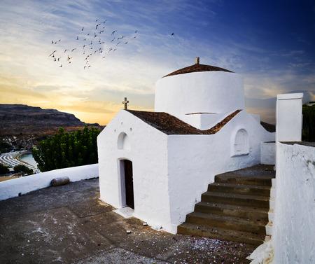rhodes: Traditional church in Lindos, Rhodes island, Greece.