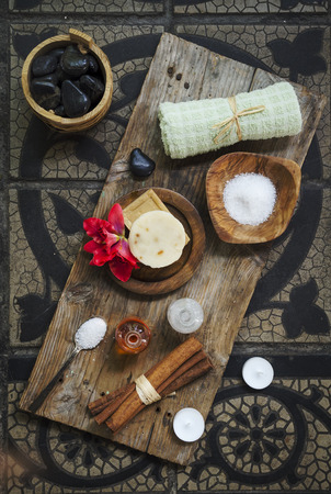 natural setting: Natural spa product on rustic wood. Stock Photo