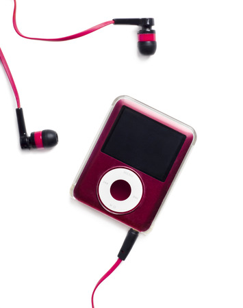 portable mp3 player: Belgrade, SERBIA - March 20, 2014: IPod Nano isolated on white background with earphones.