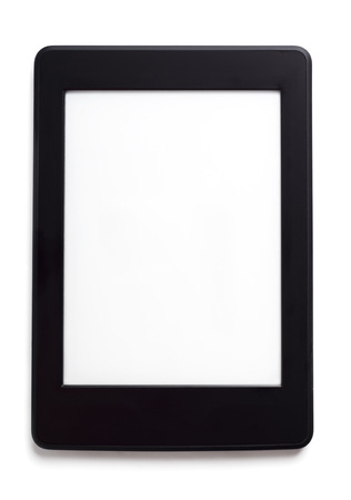 Ebook reade risolated on white background with white screen.