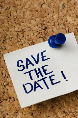 Sticker reminder for save the date concept.