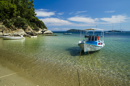 skiathos: Colorful boat in Skiathos island, Greece