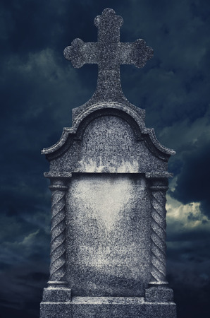 grunge cross: Old tombstone at night. halloween concept.