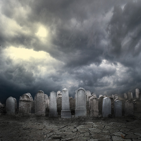 Graveyard at night. Halloween concept. Stock Photo