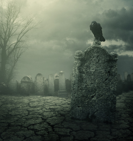 tombstones: Graveyard at night. Halloween concept. Grain texture added. Stock Photo