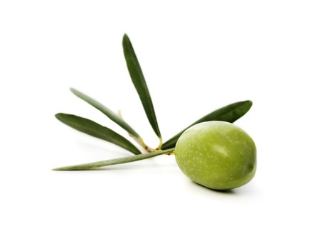 Fresh green olive isolated over white background Imagens
