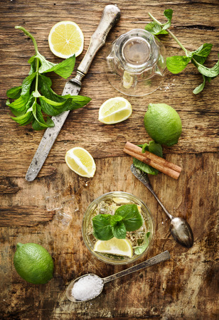 Mojito ingredients on rustic wooden background Stock Photo