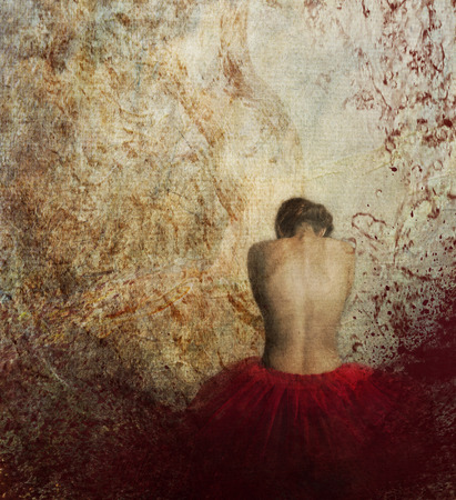 erotic fantasy: Woman in red dress from behind. Stock Photo