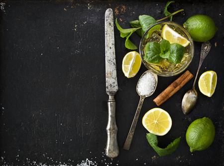 bartender: Mojito ingredients on black rustick background Stock Photo