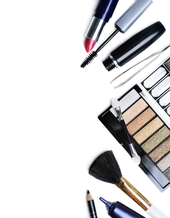 Makeup set isolated over white background
