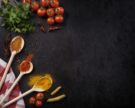 Various spices on rustic black background with copyspace. 免版税图像