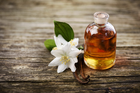 Essential oil with jasmine flower and vanilla