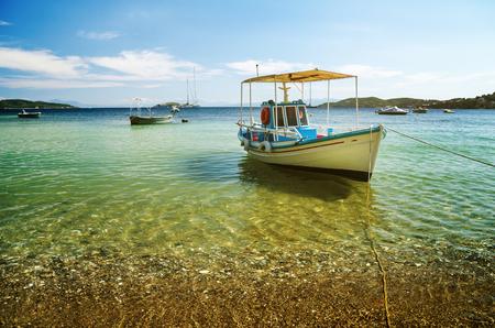 Colorful boat in Skiathos island, Greece