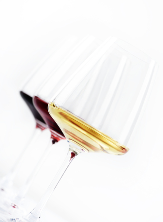 cabarnet: Three glass of red, rose and white wine isolated over white background. Wine card menu design.
