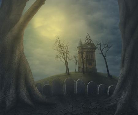 할로윈 유령의 유령의 집 밤에 짜증 묘지에. 할로윈 파티 디자인 포스터입니다. 스톡 콘텐츠 - 80820364