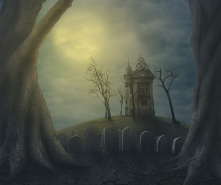 Halloween haunted ghost house on spooky graveyard at night. Halloween party design poster.