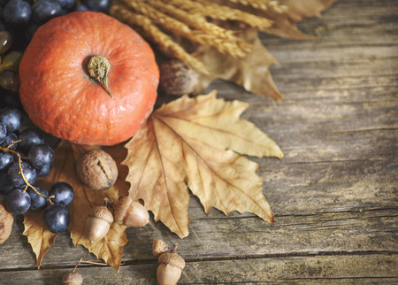 Happy thanksgiving holiday concept. Top view of autumn leaves, pumpkin, and fruits on rustic wooden table with copyspace.