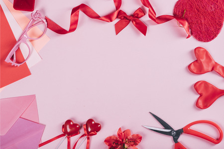 Valentines day background with copyspace. Valentine hearts gift craft from above. Flat lay design.