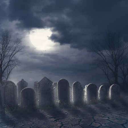 Halloween scary night concept. Horror graveyard at night with evil moon. October 31 halloween party poster design background. 스톡 콘텐츠 - 108178477