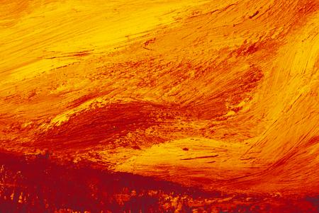 Leinwandhintergrund der abstrakten Kunst mit Bürstenfarbbeschaffenheit. Künstlerische Designkulisse mit orangefarbener Lavaölfarbe.