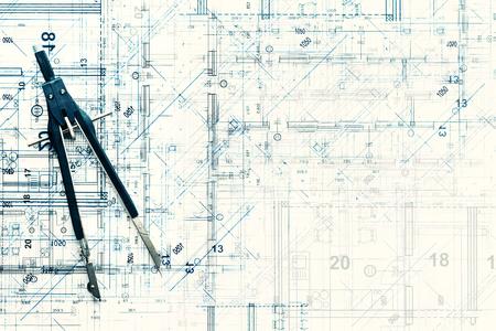 Vista superior del proyecto de diseño arquitectónico de la nueva casa moderna. Fondo de estudio de construcción creativa. Divisor y dibujo plano abstracto.
