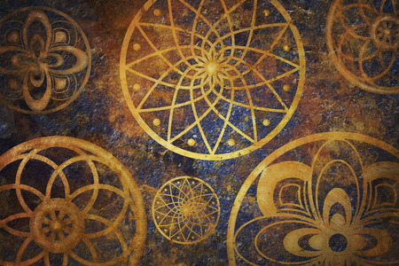 Abstract fantasy space with golden circle pattern. Art wallpaper with dark gold and blue color. Creative artistic background design.