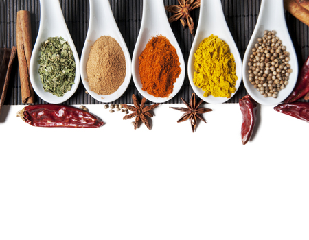 Top view on mixed dry colorful spices in spoons isolated on white background. Indian food and oriental cooking ingredients. Asian restaurant food menu design. Curry, chili, paprika, pepper, cinnamon.