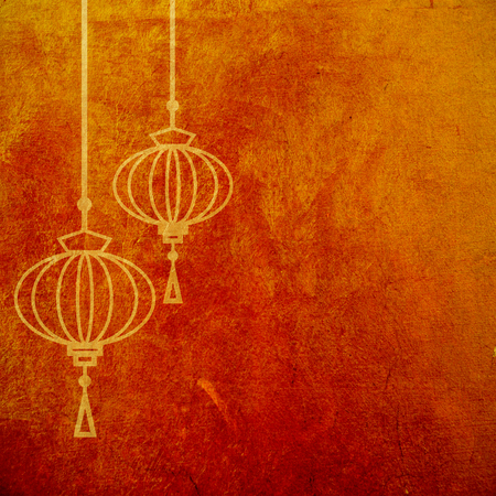 Red and gold abstract textured  with chinese lanterns.