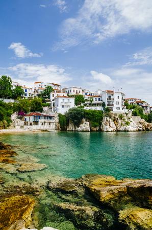 Old town view of Skiathos island, Sporades, Greece. Banco de Imagens