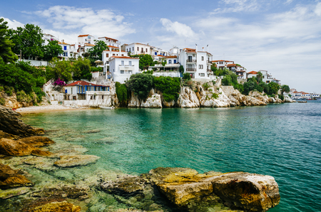 Old town view of Skiathos island, Sporades, Greece. Banque d'images
