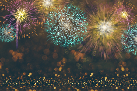 Abstract celebration background with colorful fireworks and bokeh lights. Holiday layout design for event party. Banco de Imagens
