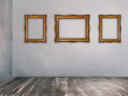 Luxury golden picture frames on rustic walls in vintage empty room. Retro interior design. Stockfoto
