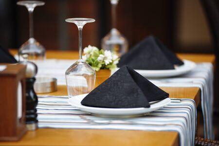 Luxury restaurant table setting for dinner.
