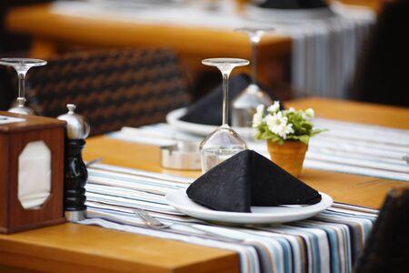 Luxury restaurant table setting for dinner. Banco de Imagens