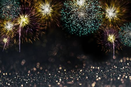 Abstract sparkling fireworks design  for new year party and christmas celebration poster. Zdjęcie Seryjne