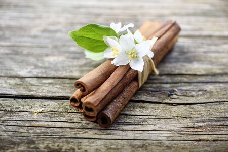 Cinnamon sticks and jasmine flower on vintage wooden table. Closeup of herbs and spices. Natural spicy aroma. Aromatherapy zen still life.