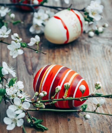 Closeup of colorful painted easter eggs and cherry blossom branch decor on vintage wooden table. Traditional seasonal holiday still life. Easter celebrate and spring concept. Banco de Imagens