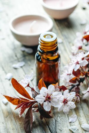 Essential massage oil with flower on rustic wooden background. Natural spa and wellness aromatherapy treatment still life. Homeopathy and alternative herbal medicine concept.