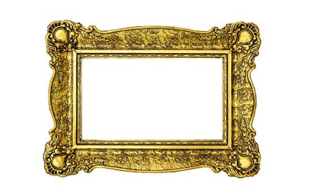 Vintage luxury golden frame with ornate baroque decoration isolated over white Foto de archivo