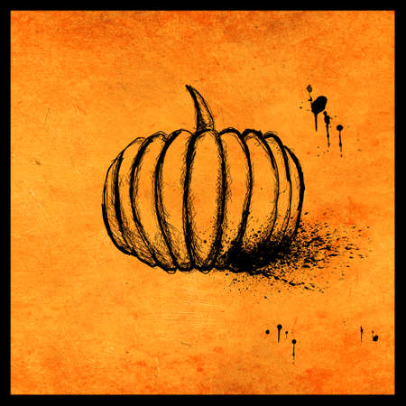 Minimal halloween design with hand drawn pumpkin and ink splatters on textured orange background. Scary greeting card and invitation party poster. Modern illustration concept.