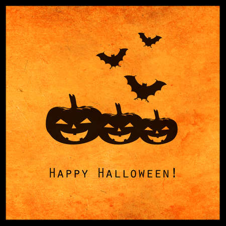 Minimal halloween design with jackolantern pumpkins and bats silhouette. Scary greeting card and invitation party poster. Modern concept.