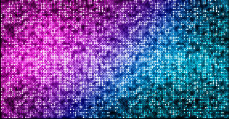 Abstract neon glowing vibrant background pattern. Sparkling disco ball texture. Modern nightlife and clubbing luxury design. Futuristic purple and blue halftone panoramic wallpaper.