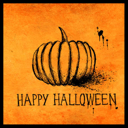 Halloween pumpkin ink stroke sketch on orange textured background with splatter stain. Minimal seasonal greeting card and poster design.
