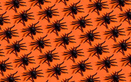 Halloween background pattern. Scary black spider on orange paper. Minimal pop art design for halloween party concept.