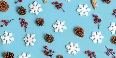 Minimal christmas, new year and winter holiday composition. Flat lay. Creative pattern banner with snow flakes, pine cone and red berries on pastel blue background. Christmas and wintertime concept. Фото со стока
