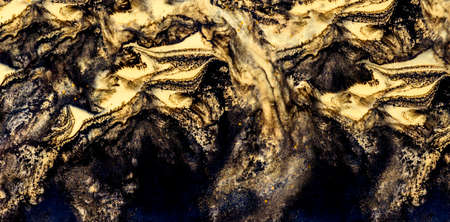 Nature luxury marble background texture. Abstract color trendy wall art. Interior design elegant natural stone surface decor. Gold and black liquid oil paint wave.
