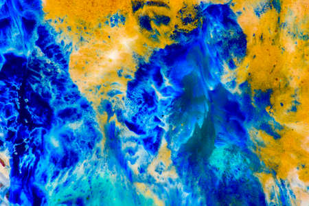 Nature luxury marble background texture. Abstract color trendy wall art. Interior design elegant natural turquoise blue surface decor. Gold and aquamarine liquid oil paint wave. Фото со стока