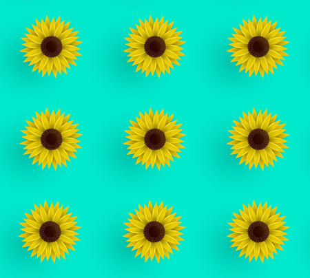 Seamless vector pattern of sunflowers. Illustration on a blue background. Wrapping paper. Summer print.